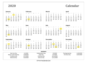 2020 yearly calendar with holidays (landscape)