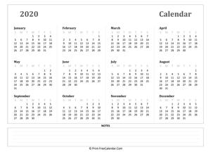 2020 yearly calendar with notes (landscape)
