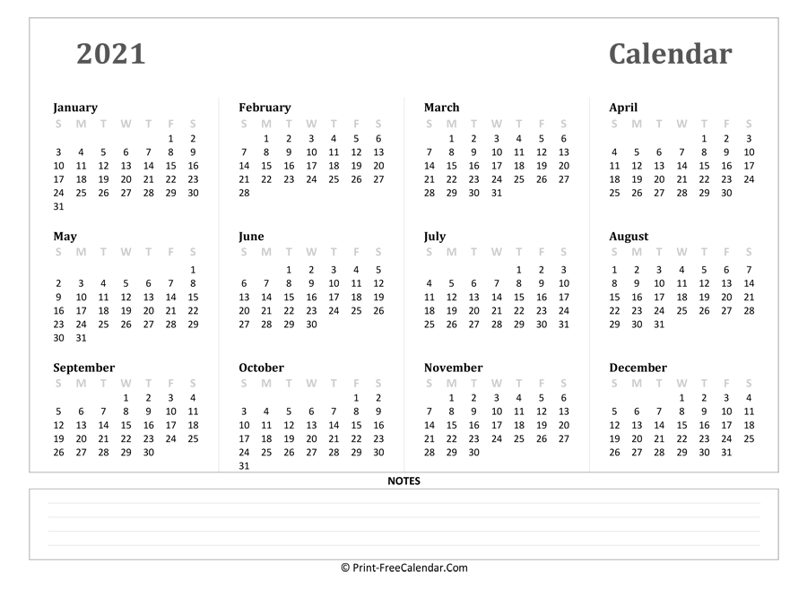 2021 Yearly Calendar with Notes (Landscape Layout)