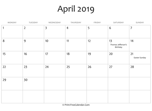 april 2019 editable calendar with holidays