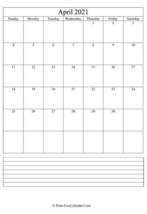 april 2021 calendar printable with notes vertical layout