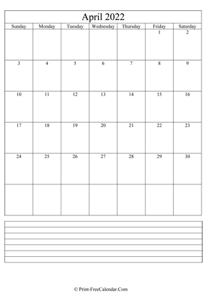 april 2022 calendar printable with notes vertical layout