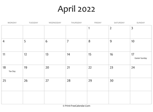april 2022 editable calendar with holidays