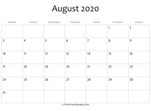 august 2020 editable calendar with holidays