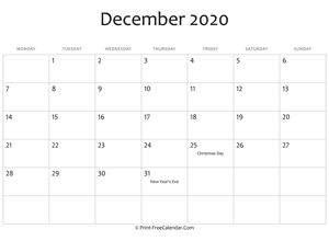 december 2020 editable calendar with holidays