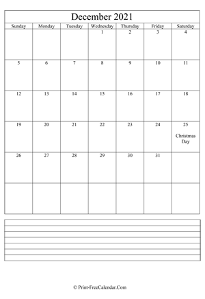 december 2021 calendar printable with notes vertical layout
