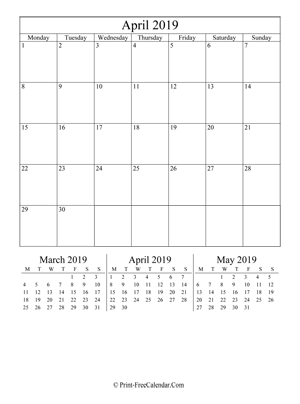 editable calendar april 2019 portrait