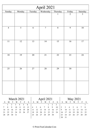 Printable April Calendar 2021 with Holidays