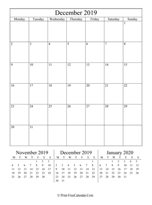 editable calendar december 2019 portrait