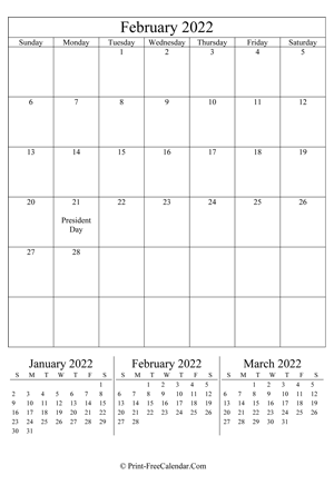 editable calendar february 2022 portrait layout