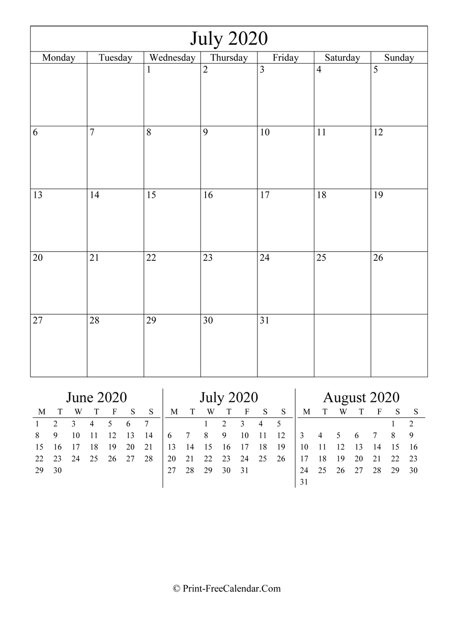 Editable Calendar July 2020 (Portrait Layout)
