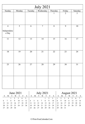 Printable July Calendar 2021 with Holidays