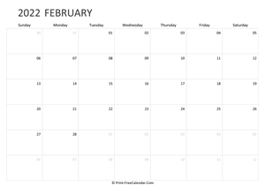 editable february calendar 2022 landscape layout