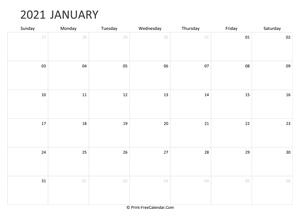 Printable January Calendar 2021 with Holidays