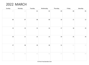 editable march calendar 2022 landscape layout
