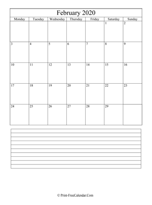 february 2020 calendar printable with notes vertical