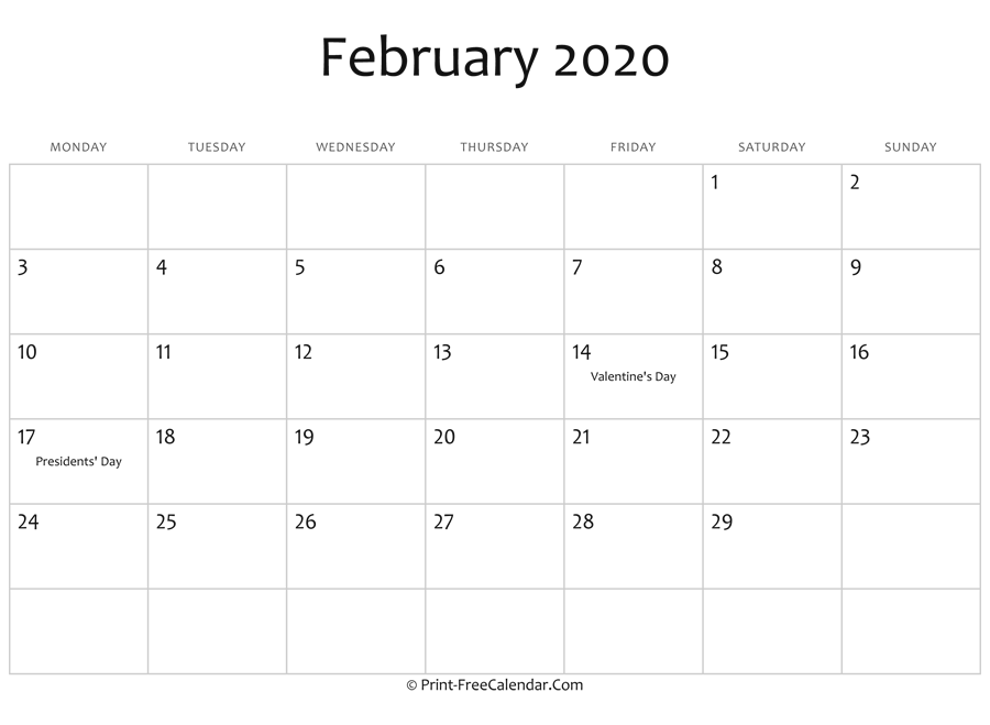 February 2020 Editable Calendar with Holidays