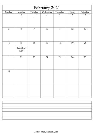 february 2021 calendar printable with notes vertical