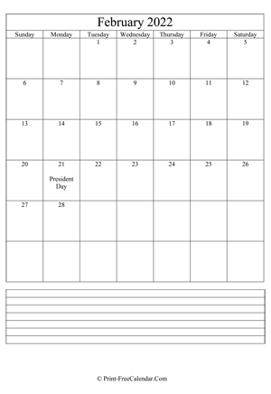 february 2022 calendar printable with notes vertical layout