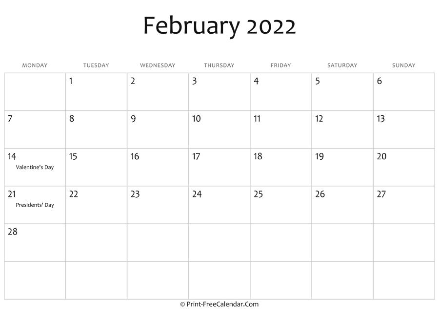 Calendar Editable 2022.February 2022 Editable Calendar With Holidays