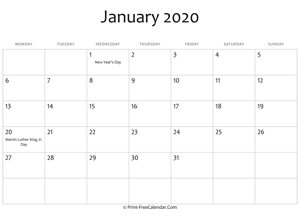 january 2020 editable calendar with holidays