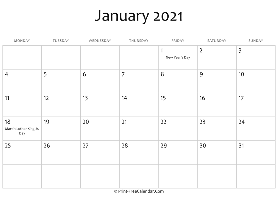 January 2021 Editable Calendar January 2021 Editable Calendar with Holidays