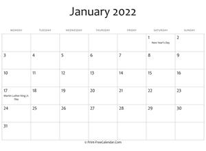 Print Free Calendar 2021 2022