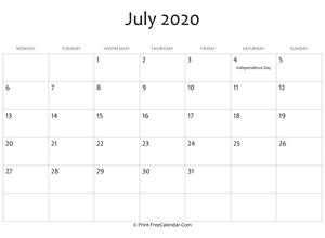 july 2020 editable calendar with holidays