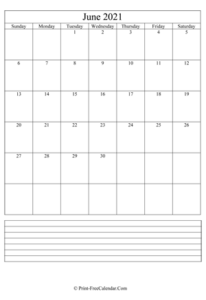 june 2021 calendar printable with notes vertical layout