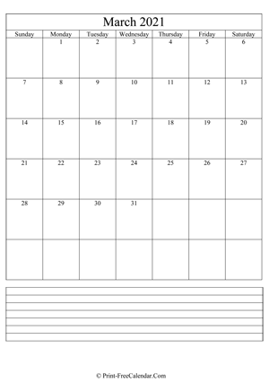 march 2021 calendar printable with notes vertical layout