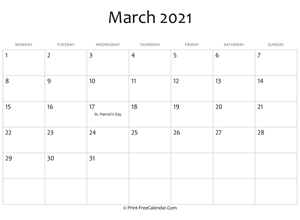 march 2021 editable calendar with holidays
