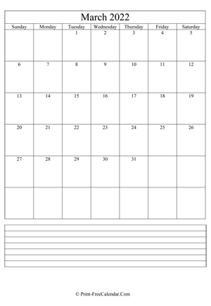 march 2022 calendar printable with notes vertical layout
