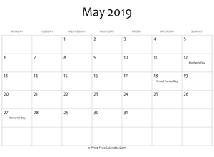 may 2019 editable calendar with holidays