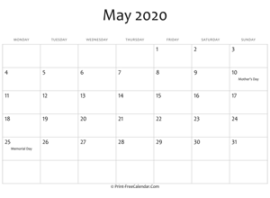may 2020 editable calendar with holidays