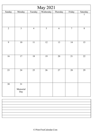 may 2021 calendar printable with notes vertical layout
