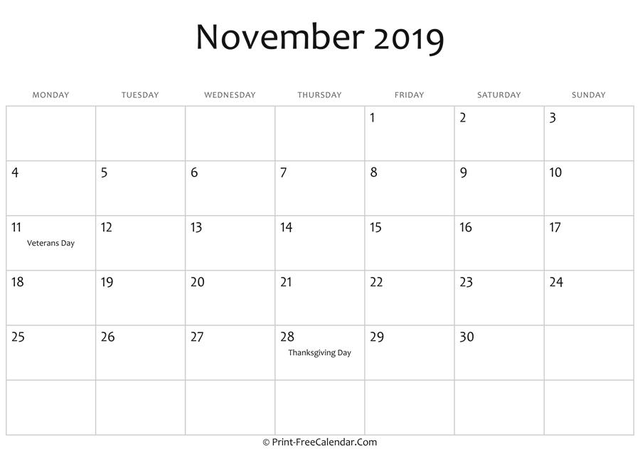 november 2019 editable calendar with holidays