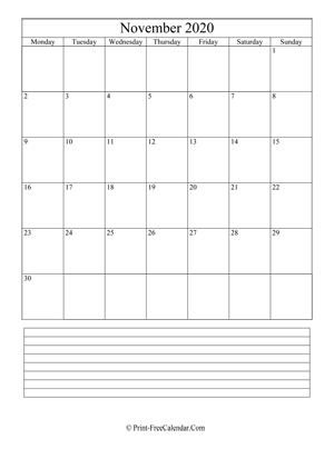 november 2020 calendar printable with notes vertical layout