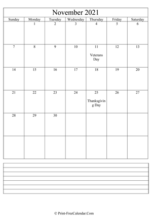 november 2021 calendar printable with notes vertical layout