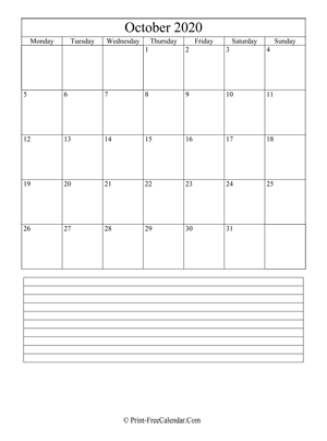 october 2020 calendar printable with notes vertical
