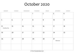october 2020 editable calendar with holidays