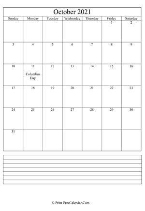 october 2021 calendar printable with notes vertical layout