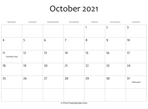 october 2021 editable calendar with holidays