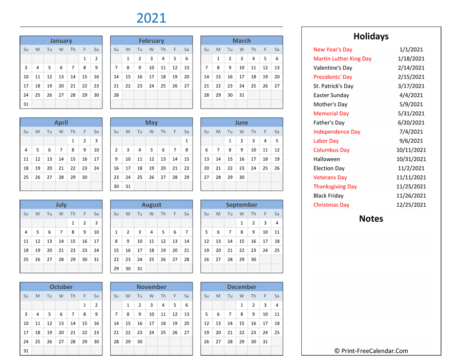 Printable 2021 Calendar with Holidays and Notes