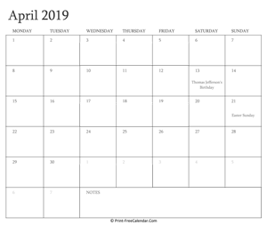 printable april calendar 2019 holidays
