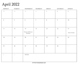 printable april calendar 2022 with holidays