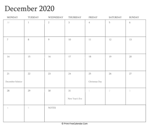 printable december calendar 2020 with holidays