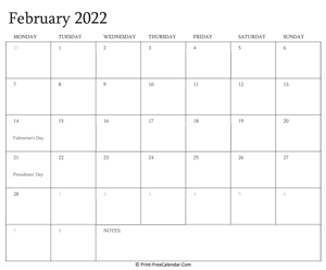 printable february calendar 2022 with holidays