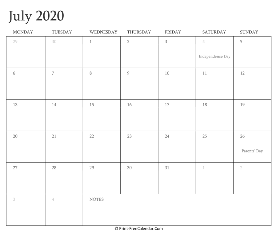 Printable July Calendar 2020 With Holidays