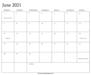 printable june calendar 2021 with holidays