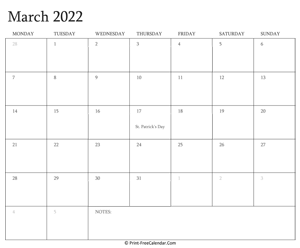 printable march calendar 2022 with holidays